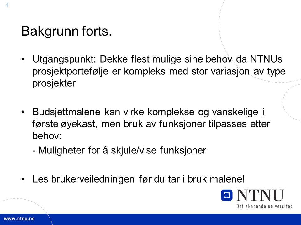 Bakgrunn forts. Utgangspunkt: Dekke flest mulige sine behov da NTNUs prosjektportefølje er kompleks med stor variasjon av type prosjekter.