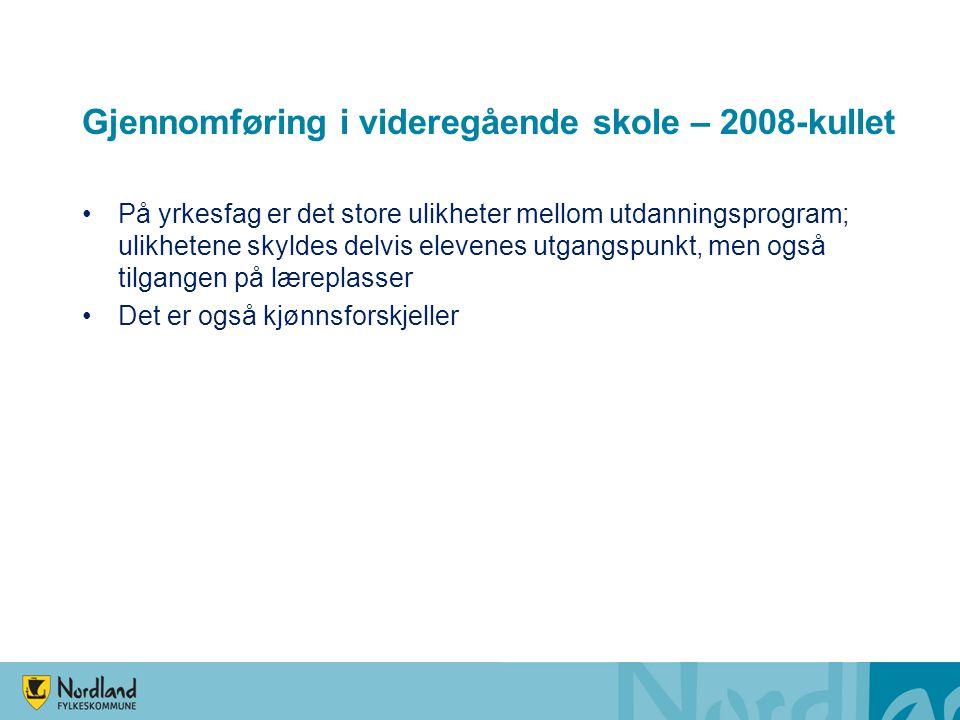Gjennomføring i videregående skole – 2008-kullet