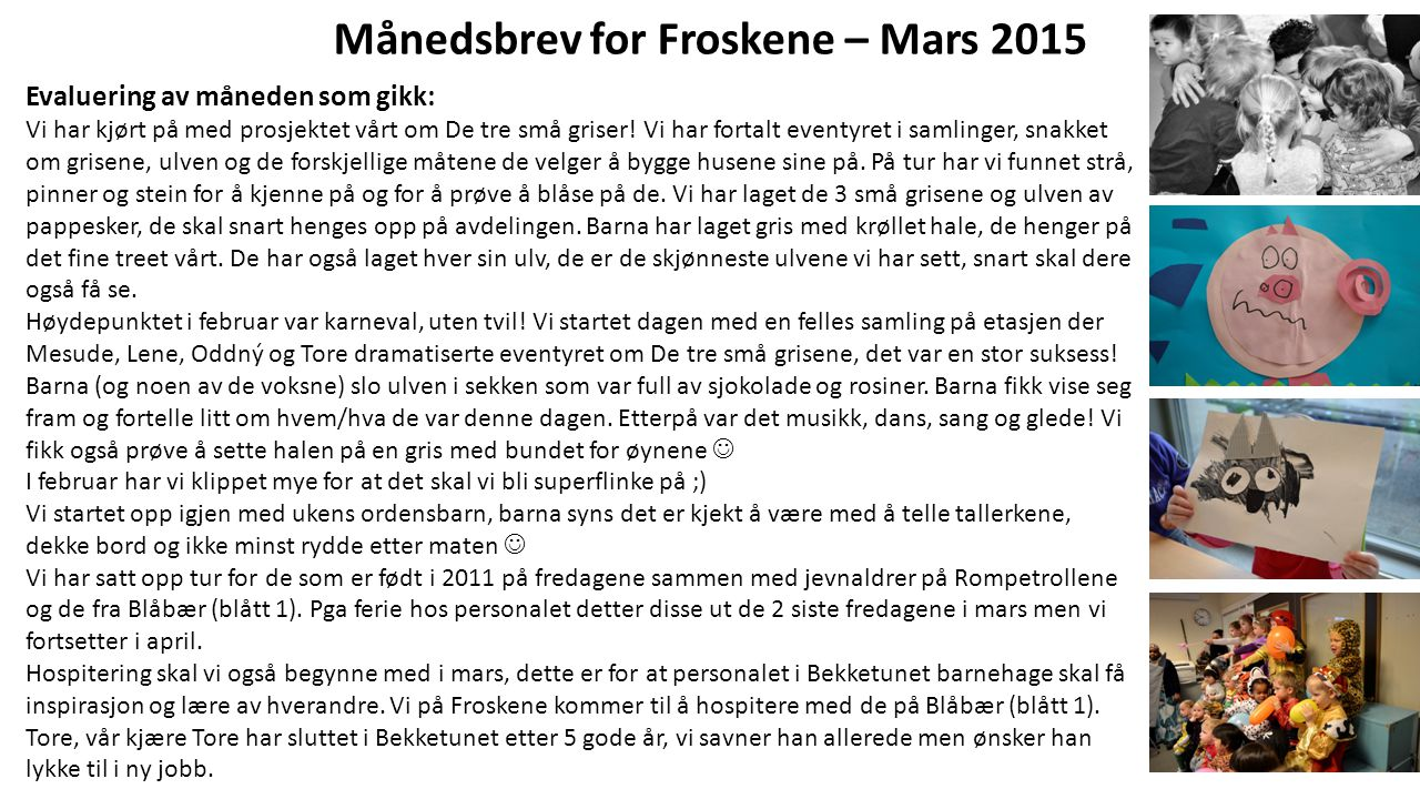 Månedsbrev for Froskene – Mars 2015