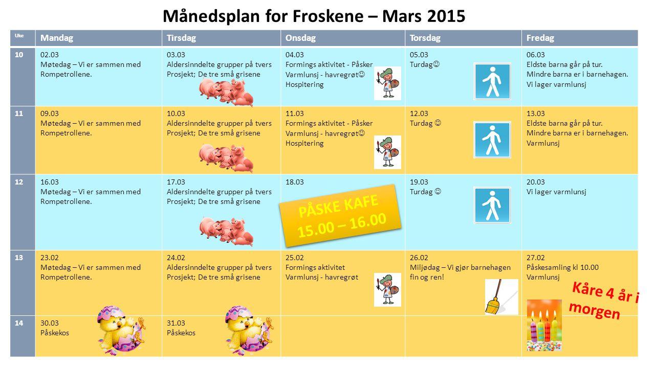 Månedsplan for Froskene – Mars 2015