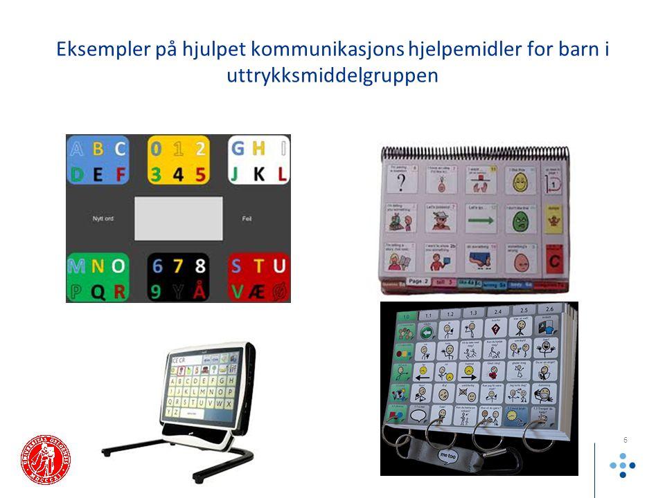 Eksempler på hjulpet kommunikasjons hjelpemidler for barn i uttrykksmiddelgruppen
