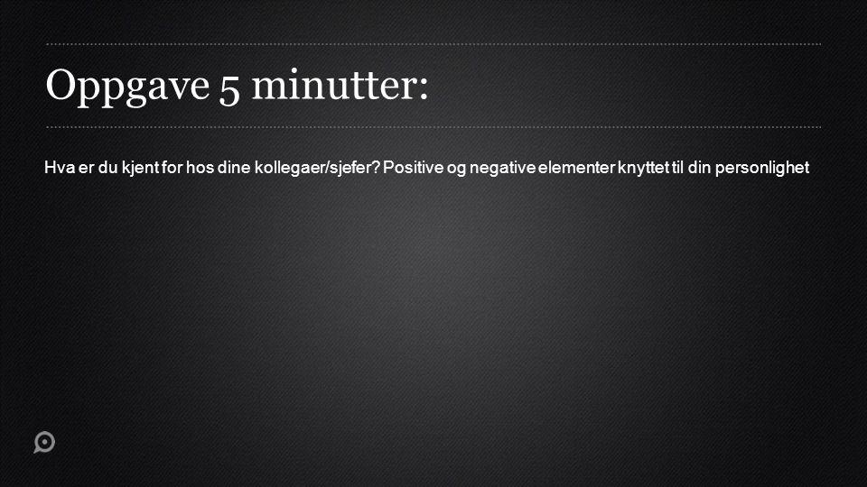 Oppgave 5 minutter: Hva er du kjent for hos dine kollegaer/sjefer Positive og negative elementer knyttet til din personlighet.