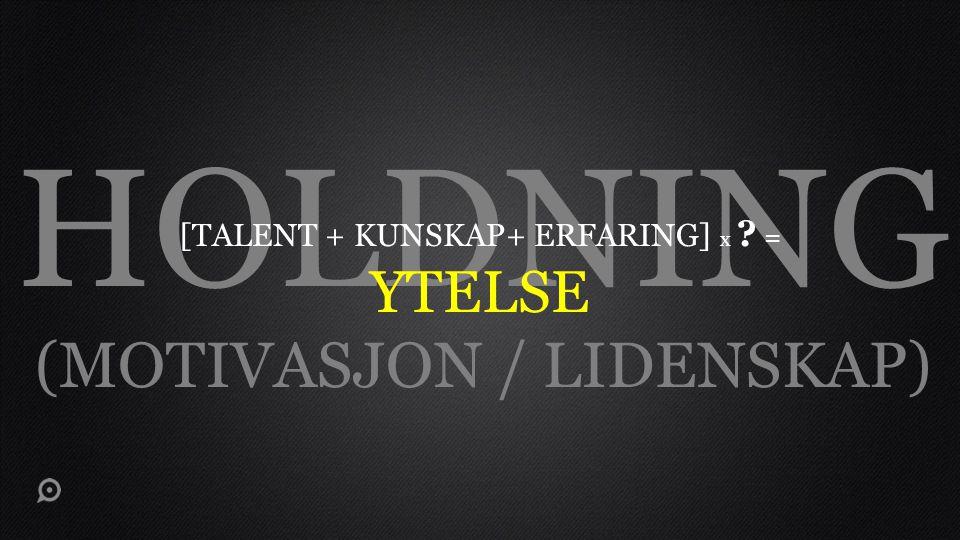 HOLDNING (MOTIVASJON / LIDENSKAP) YTELSE