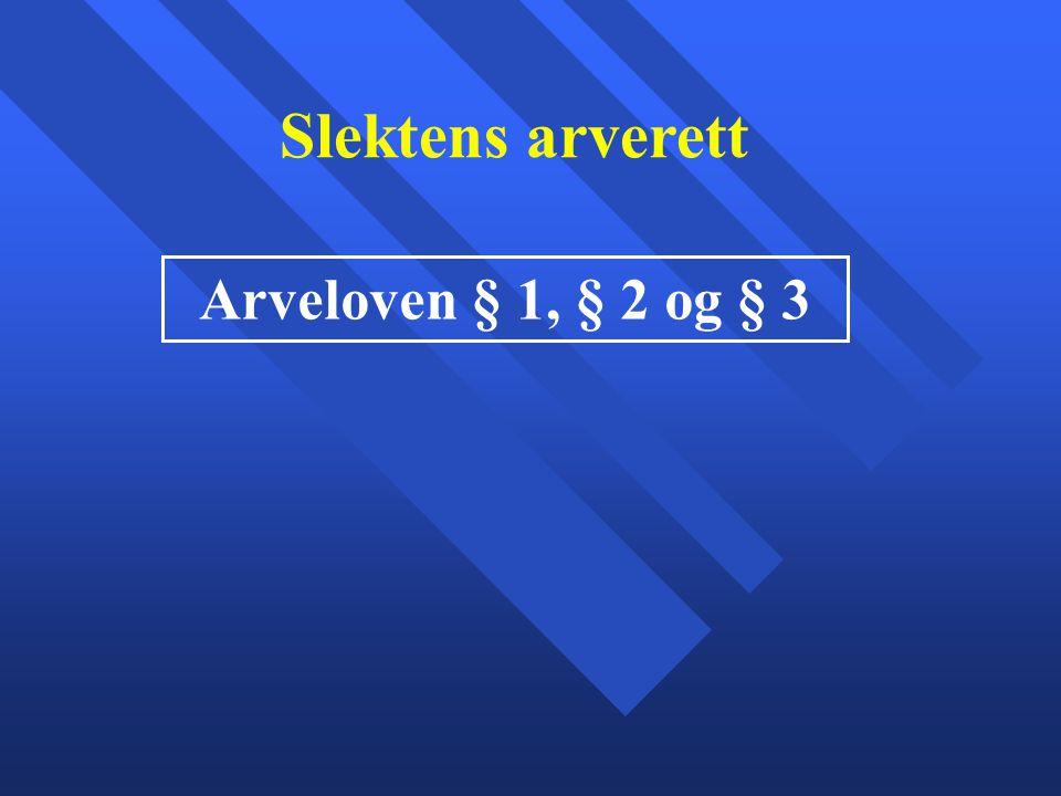 Slektens arverett Arveloven § 1, § 2 og § 3
