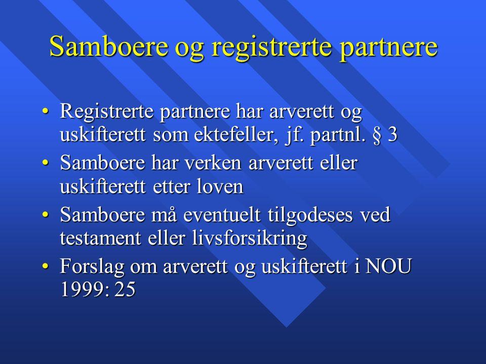 Samboere og registrerte partnere