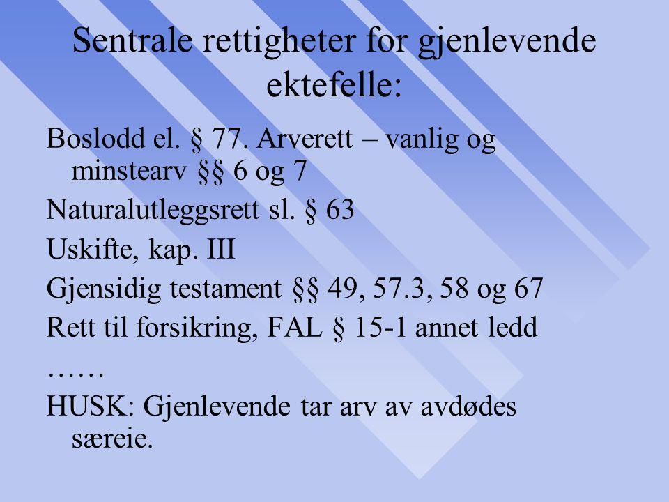 Sentrale rettigheter for gjenlevende ektefelle: