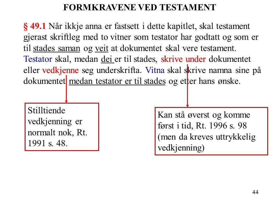 FORMKRAVENE VED TESTAMENT
