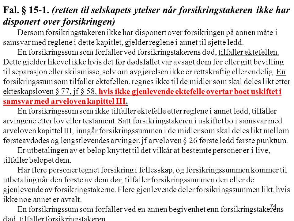 Fal. § 15-1. (retten til selskapets ytelser når forsikringstakeren ikke har disponert over forsikringen)