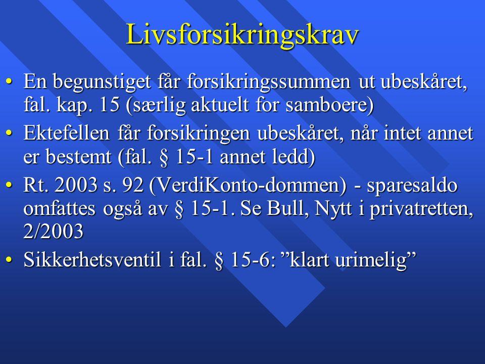 Livsforsikringskrav En begunstiget får forsikringssummen ut ubeskåret, fal. kap. 15 (særlig aktuelt for samboere)