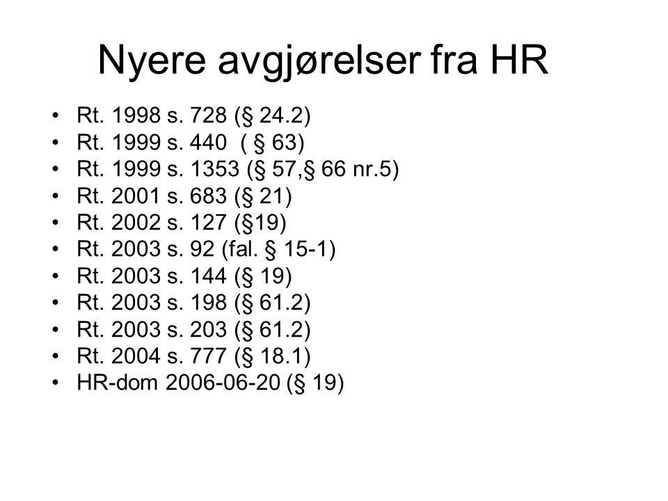 Nyere avgjørelser fra HR