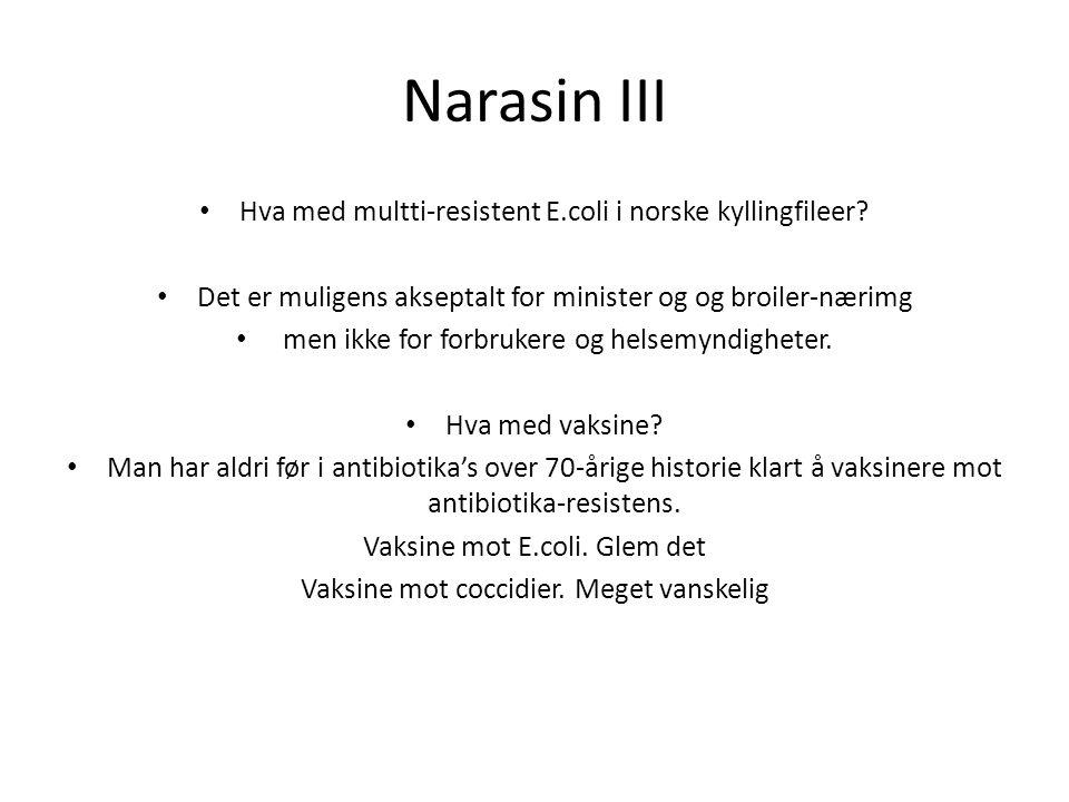 Narasin III Hva med multti-resistent E.coli i norske kyllingfileer