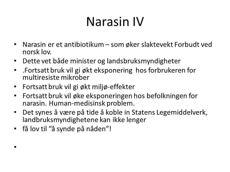 Narasin IV Narasin er et antibiotikum – som øker slaktevekt Forbudt ved norsk lov. Dette vet både minister og landsbruksmyndigheter.
