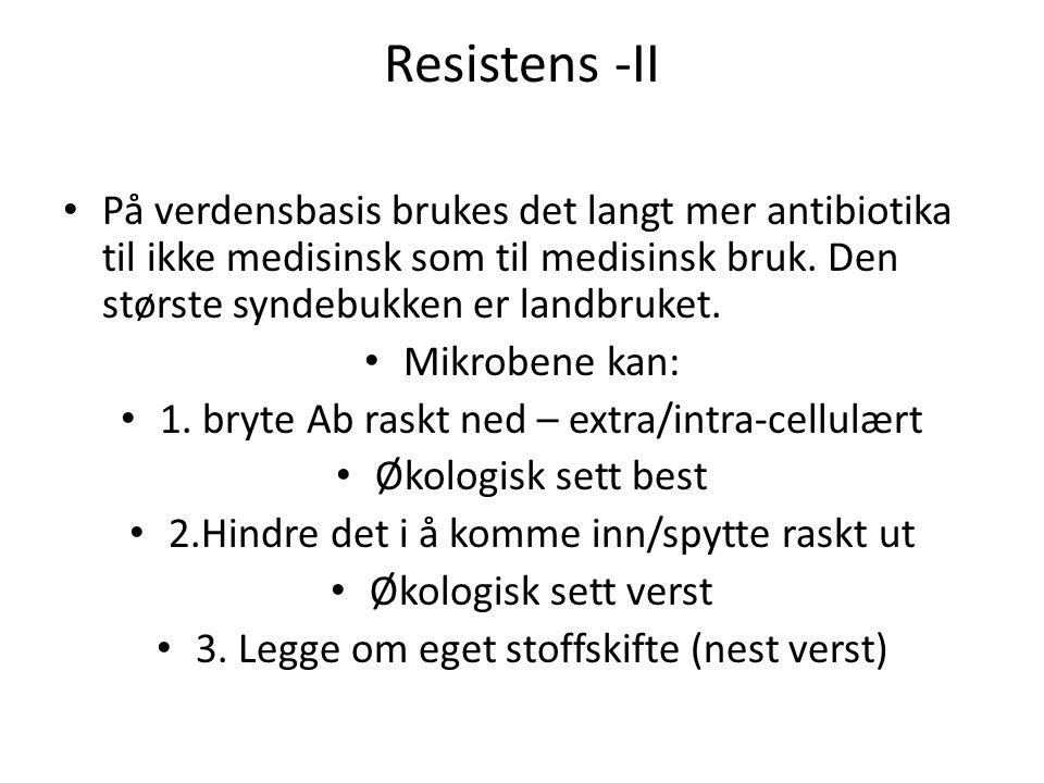 Resistens -II På verdensbasis brukes det langt mer antibiotika til ikke medisinsk som til medisinsk bruk. Den største syndebukken er landbruket.