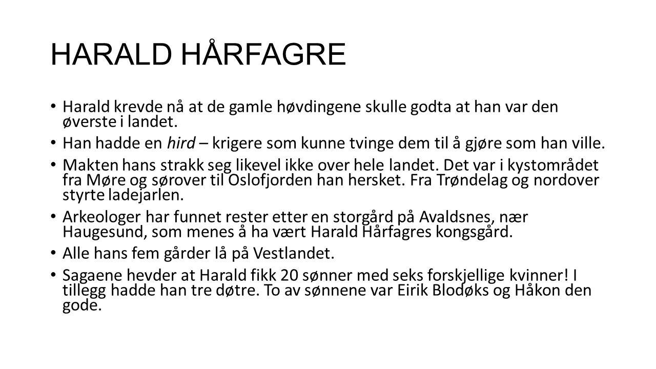 HARALD HÅRFAGRE Harald krevde nå at de gamle høvdingene skulle godta at han var den øverste i landet.
