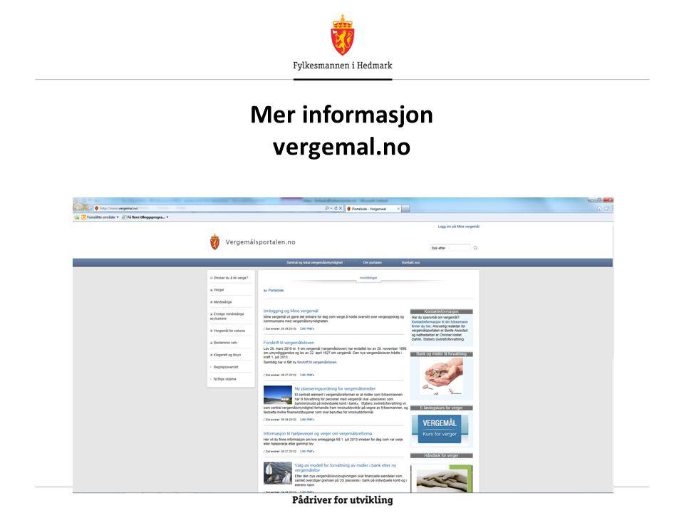 Mer informasjon vergemal.no