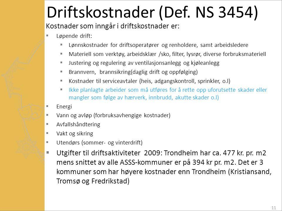 Driftskostnader (Def. NS 3454)