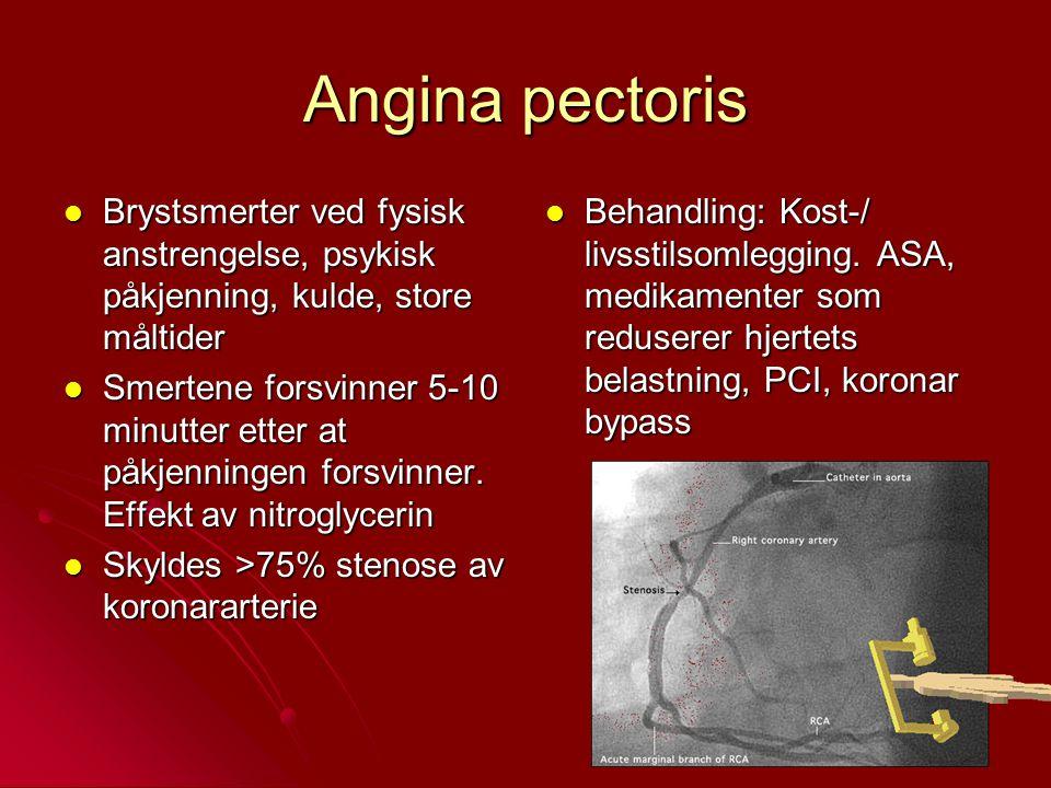 Angina pectoris Brystsmerter ved fysisk anstrengelse, psykisk påkjenning, kulde, store måltider.