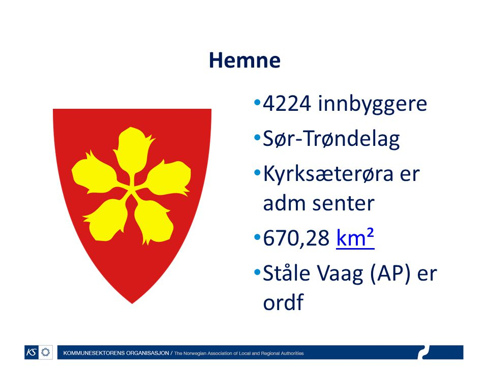 Hemne 4224 innbyggere Sør-Trøndelag Kyrksæterøra er adm senter 670,28 km² Ståle Vaag (AP) er ordf