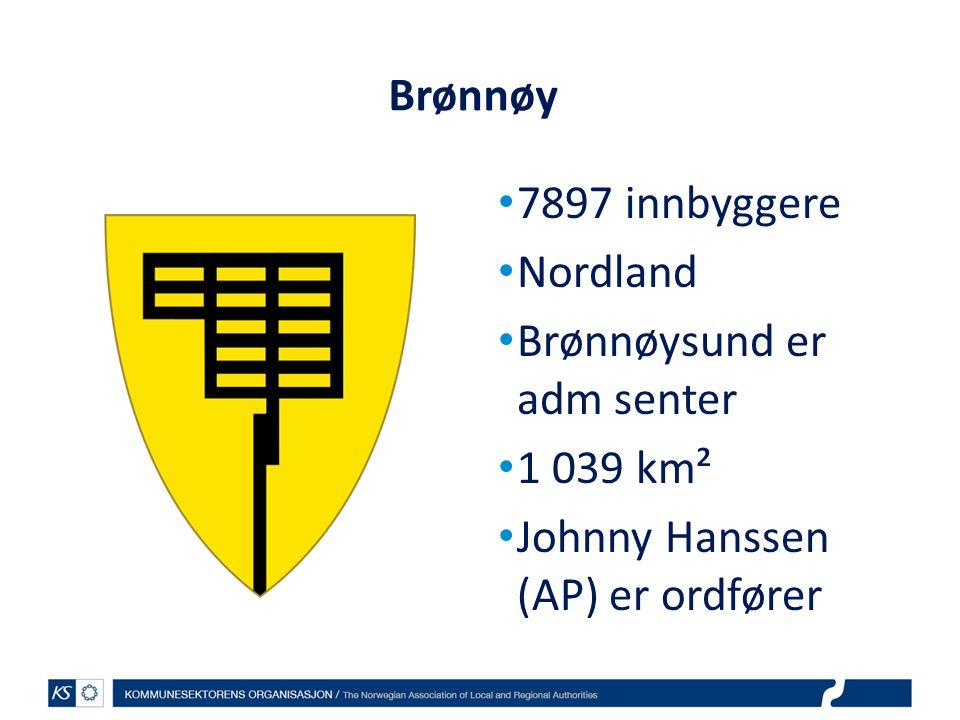Brønnøy 7897 innbyggere. Nordland. Brønnøysund er adm senter.