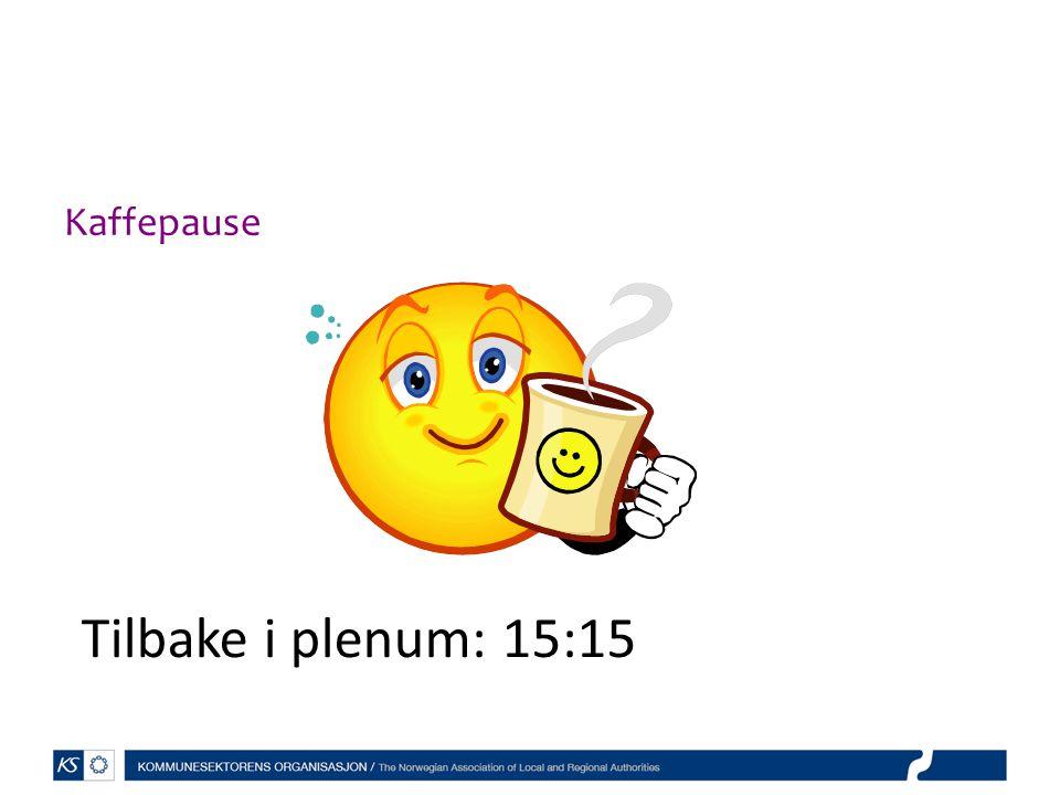 Kaffepause 1330 Tilbake i plenum: 15:15