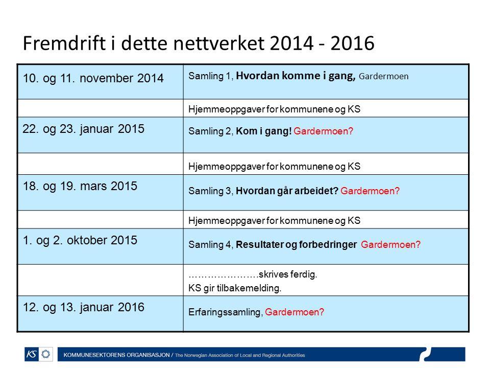 Fremdrift i dette nettverket 2014 - 2016