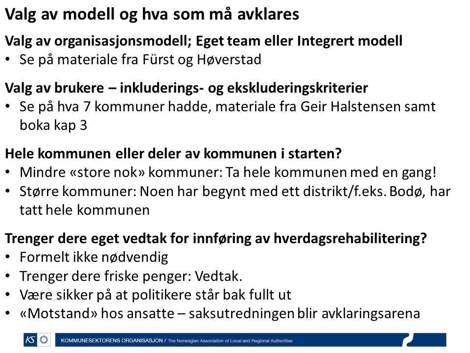 Valg av modell og hva som må avklares