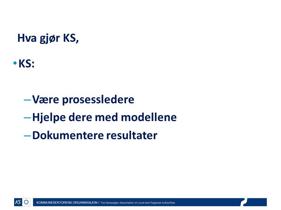 Hva gjør KS, KS: Være prosessledere Hjelpe dere med modellene Dokumentere resultater