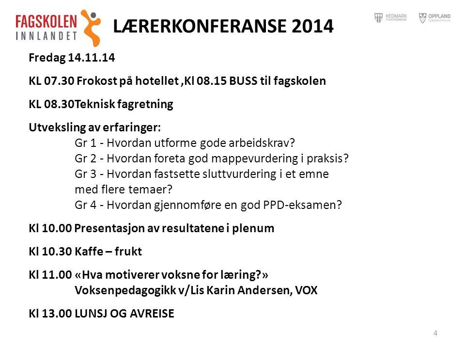 LÆRERKONFERANSE 2014 Fredag 14.11.14