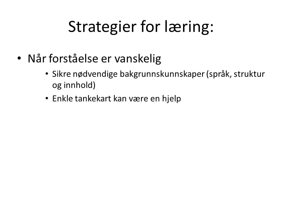 Strategier for læring: