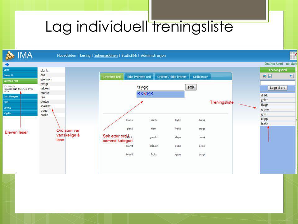 Lag individuell treningsliste
