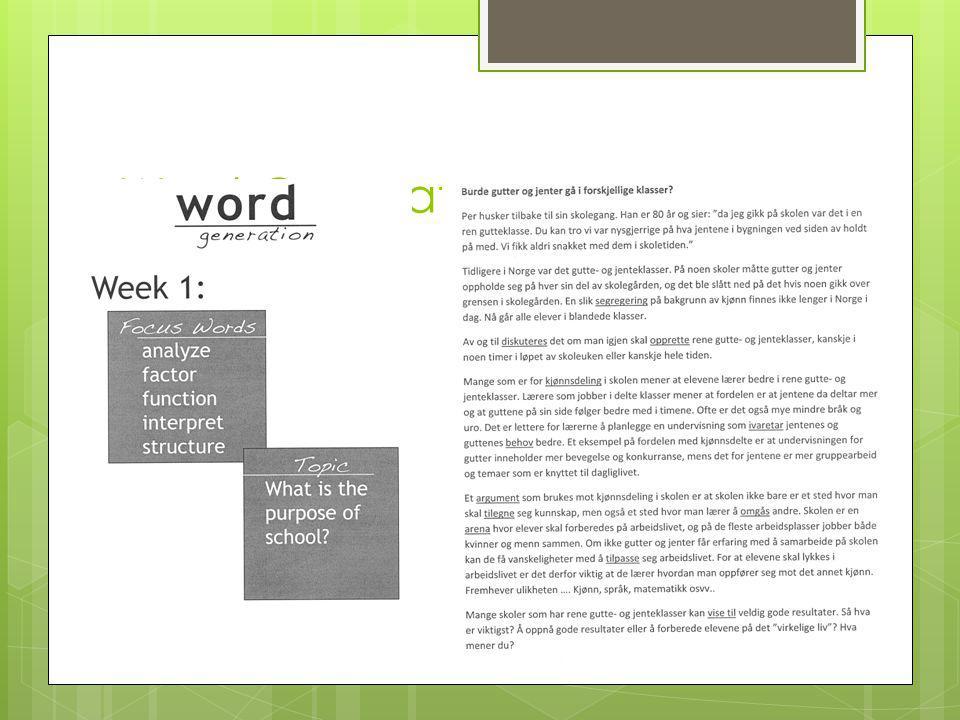 Word Generation - Innledning