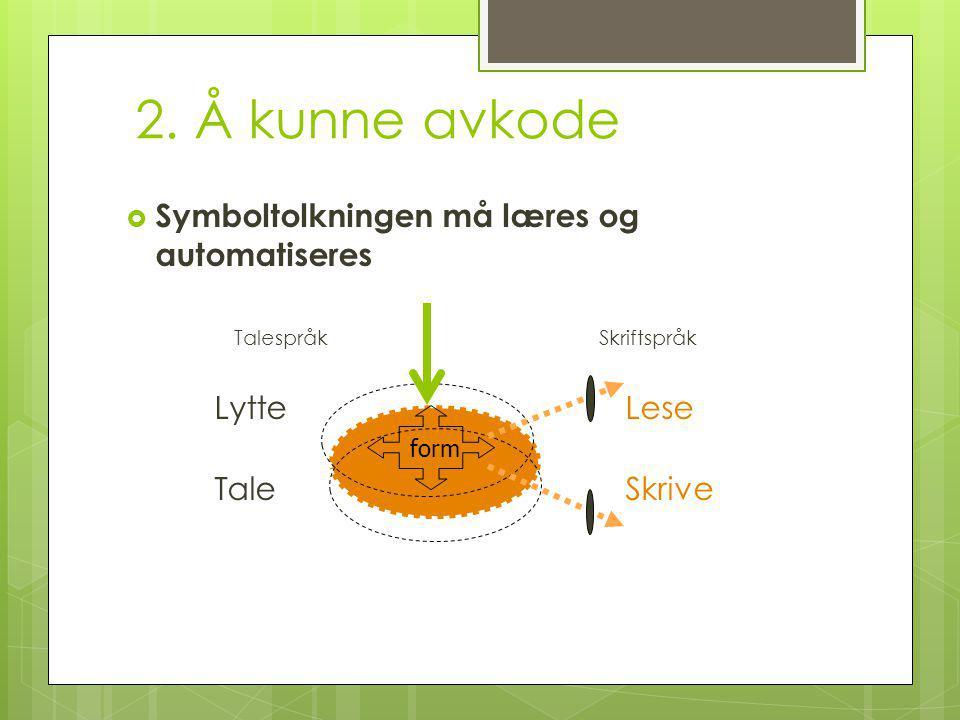 2. Å kunne avkode Symboltolkningen må læres og automatiseres