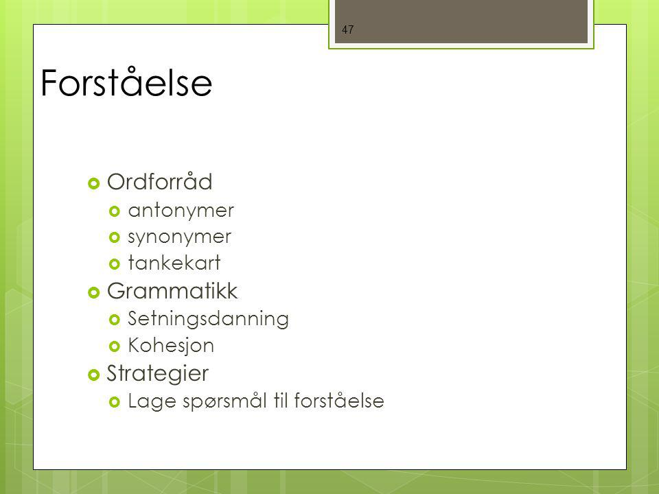 Forståelse Ordforråd Grammatikk Strategier antonymer synonymer