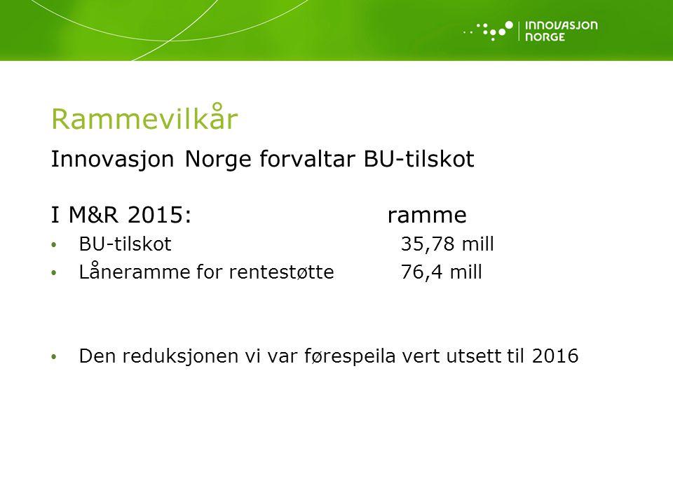 Rammevilkår Innovasjon Norge forvaltar BU-tilskot I M&R 2015: ramme