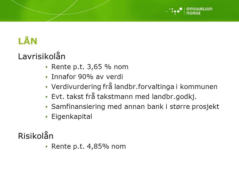 LÅN Lavrisikolån Risikolån Rente p.t. 3,65 % nom Innafor 90% av verdi