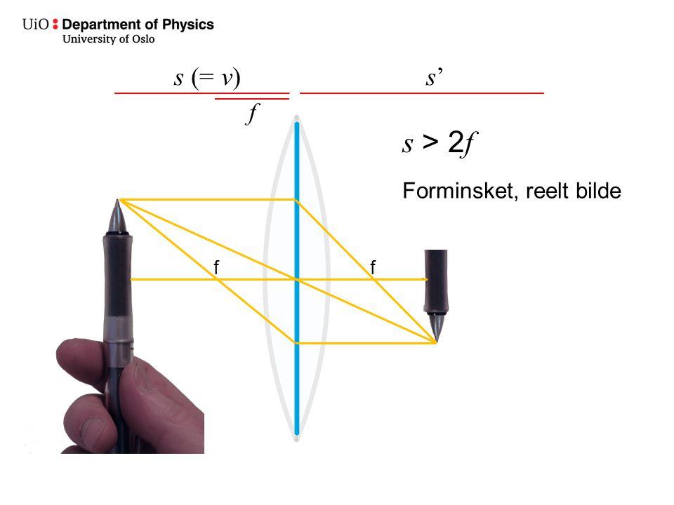 s (= v) s' f s > 2f Forminsket, reelt bilde f f