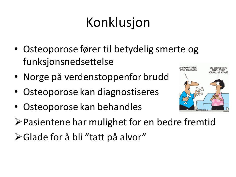 Konklusjon Osteoporose fører til betydelig smerte og funksjonsnedsettelse. Norge på verdenstoppenfor brudd.