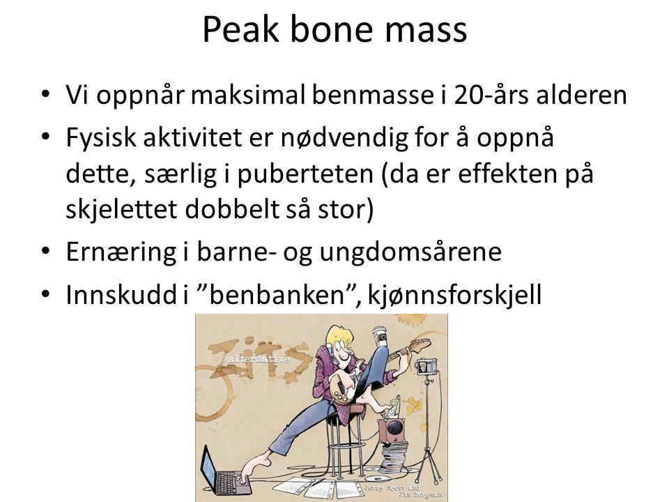 Peak bone mass Vi oppnår maksimal benmasse i 20-års alderen