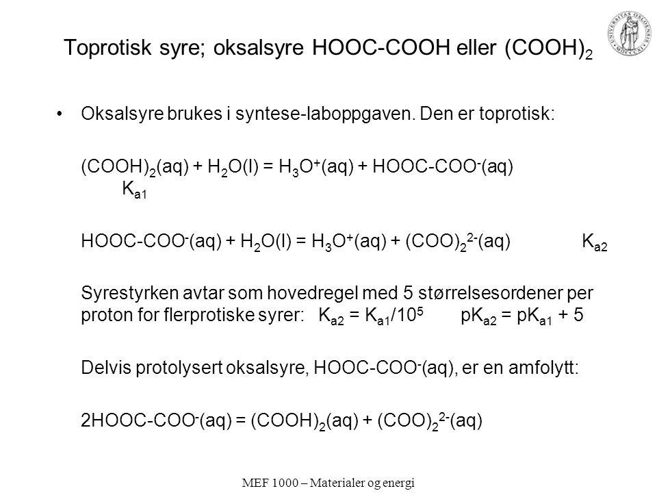 Toprotisk syre; oksalsyre HOOC-COOH eller (COOH)2