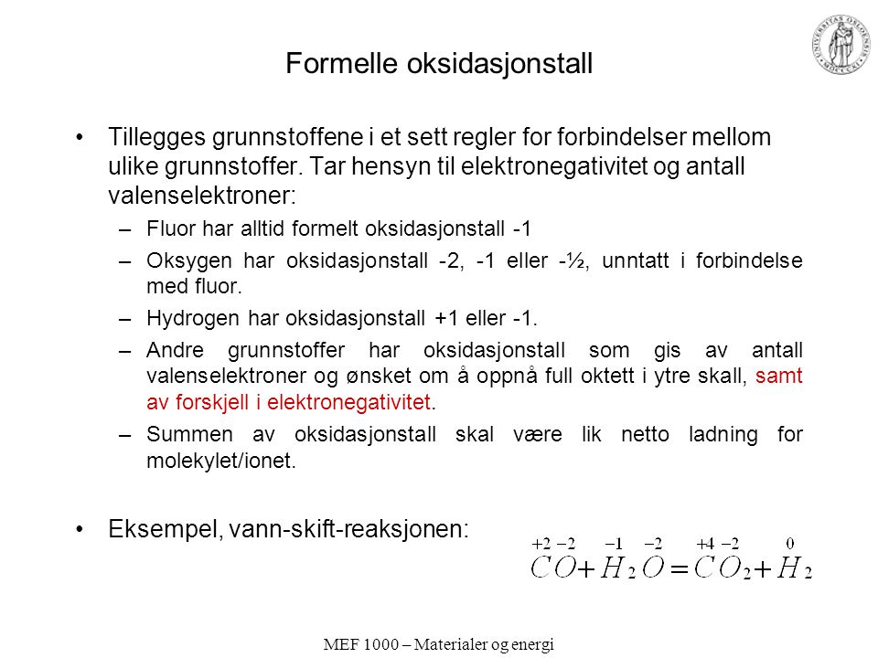 Formelle oksidasjonstall