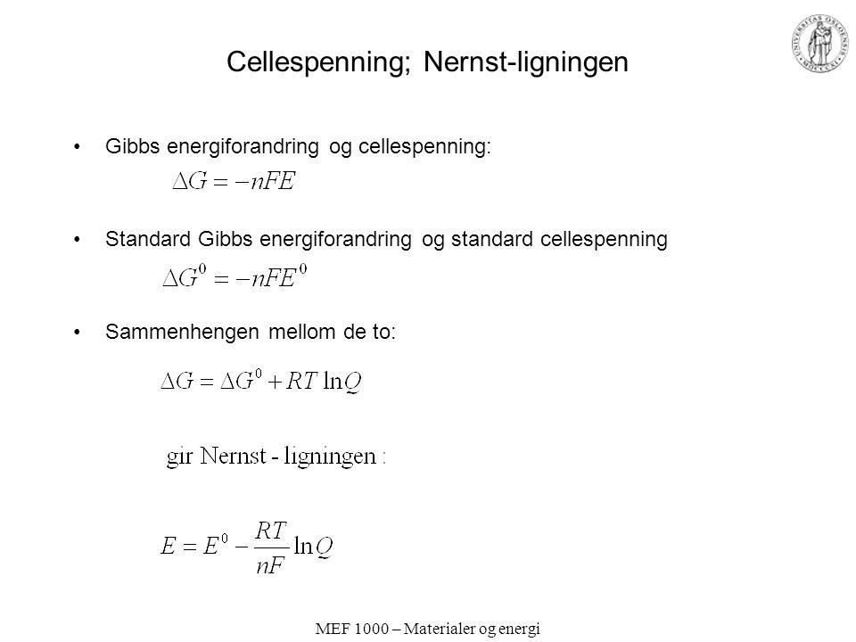 Cellespenning; Nernst-ligningen