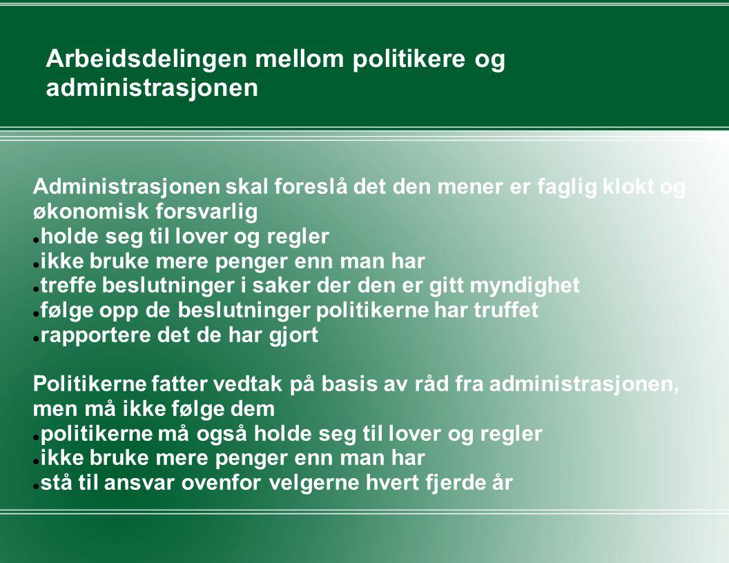 Arbeidsdelingen mellom politikere og administrasjonen