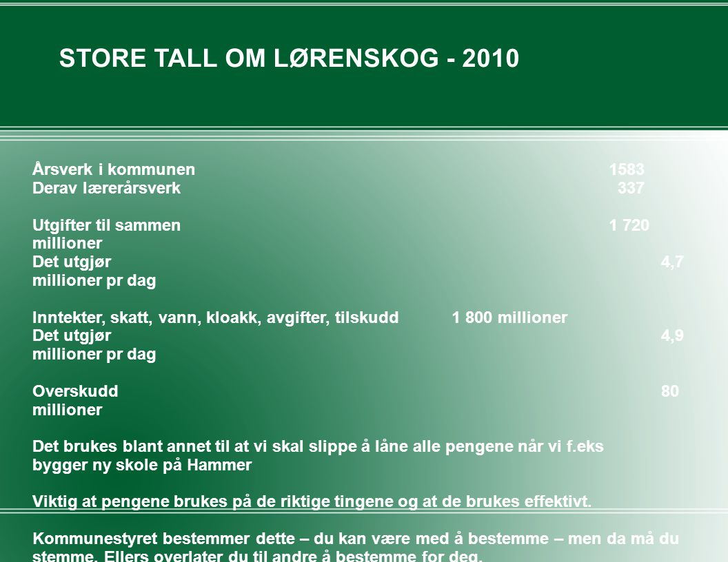 STORE TALL OM LØRENSKOG - 2010