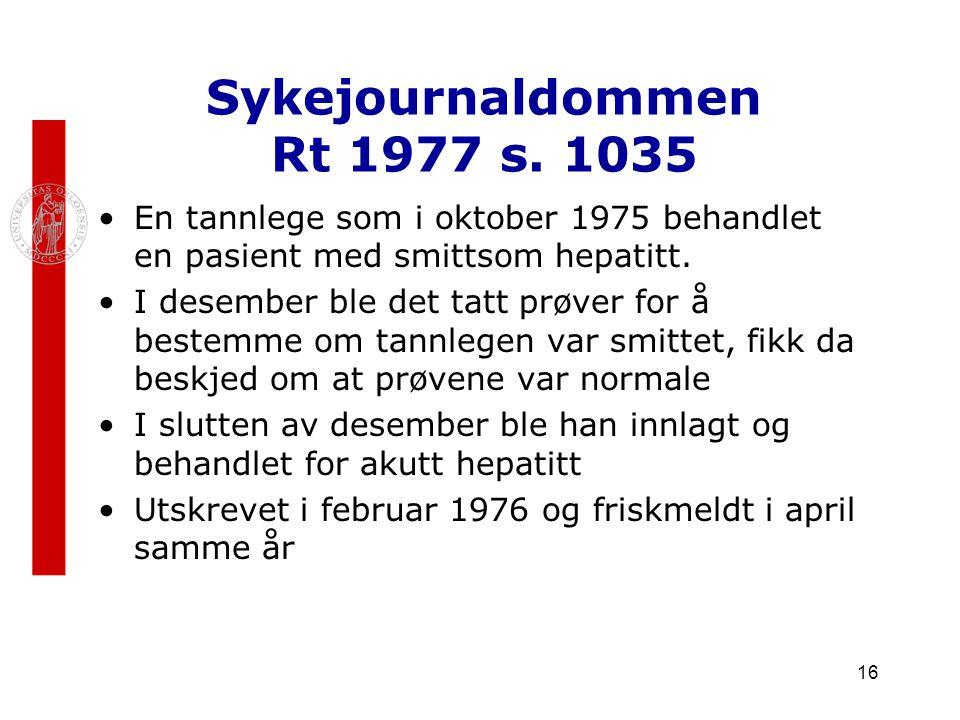 Sykejournaldommen Rt 1977 s. 1035