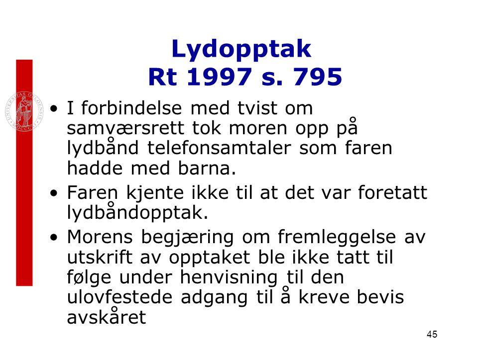Lydopptak Rt 1997 s. 795 I forbindelse med tvist om samværsrett tok moren opp på lydbånd telefonsamtaler som faren hadde med barna.