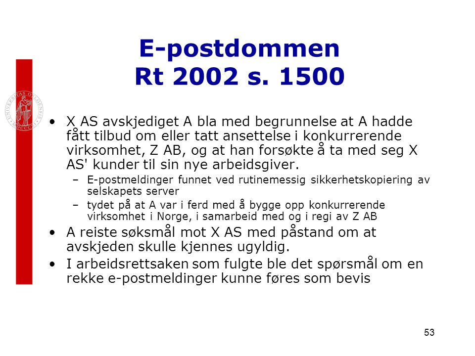 E-postdommen Rt 2002 s. 1500