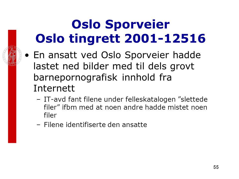 Oslo Sporveier Oslo tingrett 2001-12516