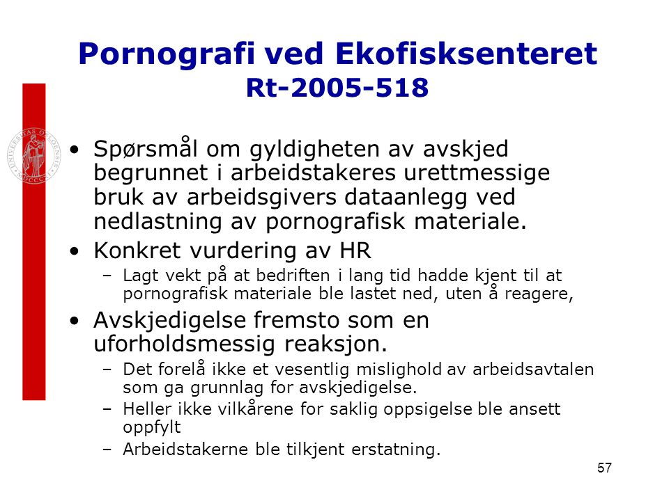 Pornografi ved Ekofisksenteret Rt-2005-518