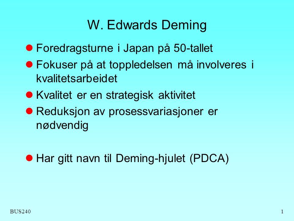 W. Edwards Deming Foredragsturne i Japan på 50-tallet