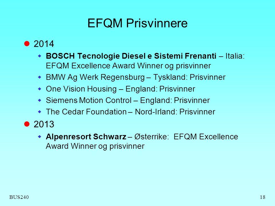 EFQM Prisvinnere 2014. BOSCH Tecnologie Diesel e Sistemi Frenanti – Italia: EFQM Excellence Award Winner og prisvinner.
